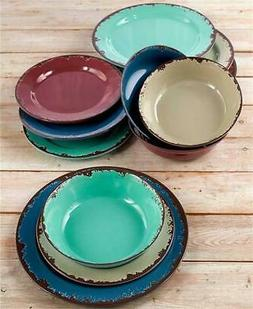 12-PC 3 COLOR RUSTIC MELAMINE DINNERWARE SET CERAMIC LOOK SH