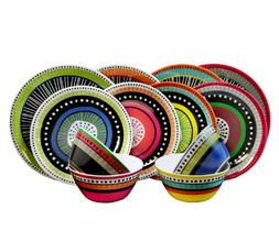 12 pc Colorful Gibson Almira Melamine Dinnerware Dishes Set