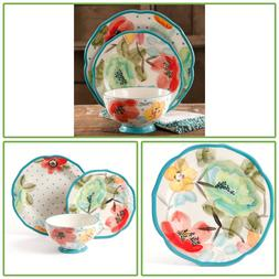 12 Pcs Ceramic Floral Decorated Kitchen Dinnerware Set Plate