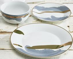 mainstays 12 piece Abstract Colorful Porcelain Dinnerware Se