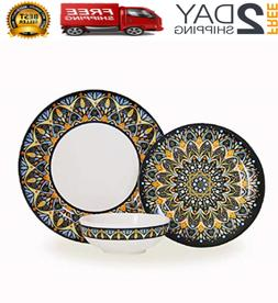 12-Piece Melamine Dinnerware Set - Service for 4
