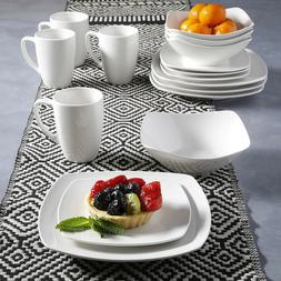 16 Piece Porcelain Dinnerware Set Service for 4 White Square