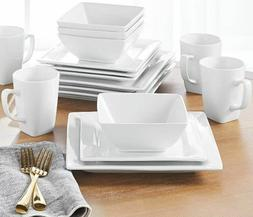 16-Piece Square Porcelain Dinnerware Set White Dinner Plates
