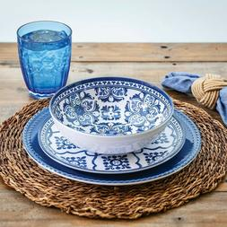 18-Piece Melamine Dinnerware Set French Country Blue and Whi
