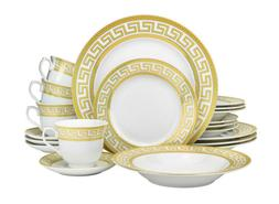 20 Piece Athena Gold Greek Key Bone China Dinner Serving Dis