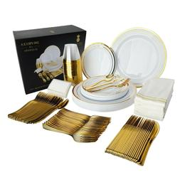 200 Piece Gold Plastic Disposable Dinnerware Set & Plates fo