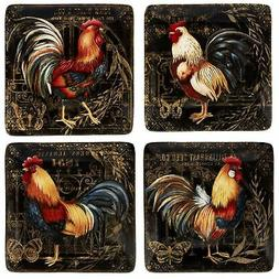 Certified International 23662SET4 Gilded Rooster Dinnerware.
