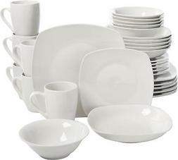 30-Pieces Dinnerware Set Porcelain Square White Microwave Sa