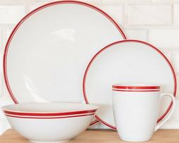 10 Strawberry Street 16-Piece Red Band Coupe Dinnerware Set