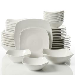 40-Pcs White Soft Square Dinnerware Set Dishwasher Microwave