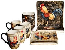 Certified International 89014 Gilded Rooster Dinnerware.Tabl