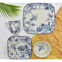 222 Fifth Adelaide 16 Piece Porcelain Dinnerware Set with Sq