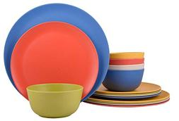 Melange 18-Piece Bamboo Dinnerware Set  | Shatter-Proof and