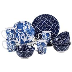 Certified International 89254 Blue Indigo 16 pc. Dinnerware