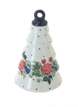 Blue Rose Polish Pottery Winter Floral Christmas Tree Orname