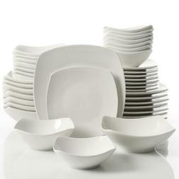 Brentwood Dinnerware Set 40 Piece White Soft Square Home Kit