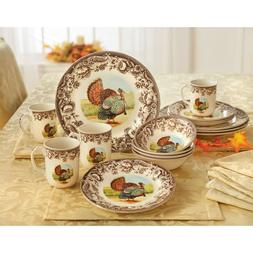 BrylaneHome 16-Pc. Turkey Dinnerware Set