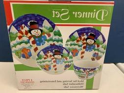 Christmas Dinnerware 04 Piece Set with Holiday Decorated Cer