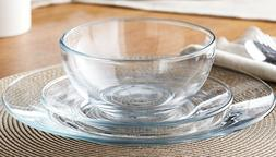 Clear Glass 24 piece Round dinnerware Set Service for 8 NEW