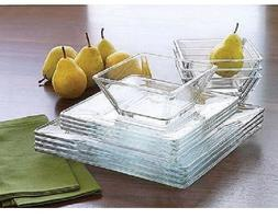 Clear Glass 24 piece Square dinnerware Set Service for 8 NEW