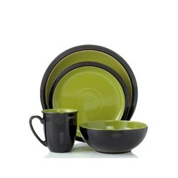Denby Duets 4-Piece Place Setting, Black/Green