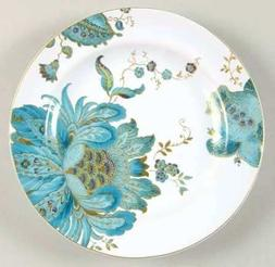 222 Fifth Eliza Teal Fine China Salad Plates, Set of 4, Circ