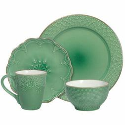 Pfaltzgraff French Lace Green 16 Piece Dinnerware Set