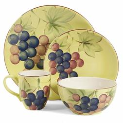 Gibson Home Fruitful Harvest Grapes 16pc Round Dinnerware Se