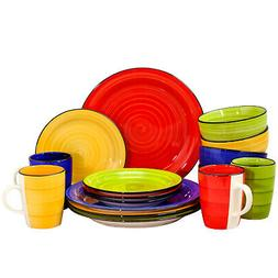 Gibson Home Color Vibes 16 Piece Stoneware Round Dinnerware