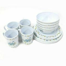 Gold Coast 16 Piece Butterfly Floral Melamine Dinnerware Set