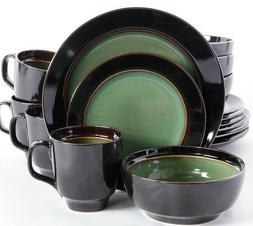 Gibson Green and Black 16-Piece Dinnerware Set Service for 4