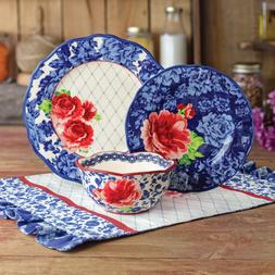 The Pioneer Woman Heritage Floral 12-Piece Dinnerware Set Bl