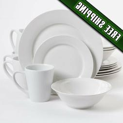 Gibson Home Noble Court 16 Piece Dinnerware Set, White Plate