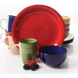 Gibson Home Color Vibes 12 pc Dinnerware Set, 4 Assorted Col