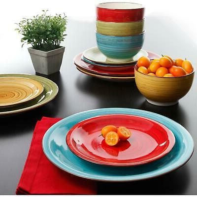 12 Dinnerware Set Plates Dishes Bowls Colors