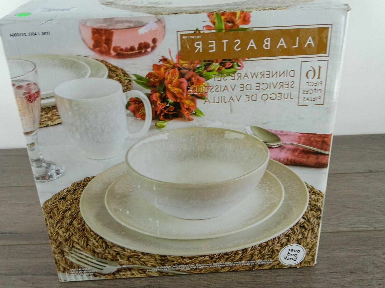 16pc dinnerware set over and back linen