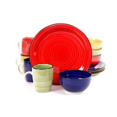 color vibes 12 pcs dinnerware set microwave
