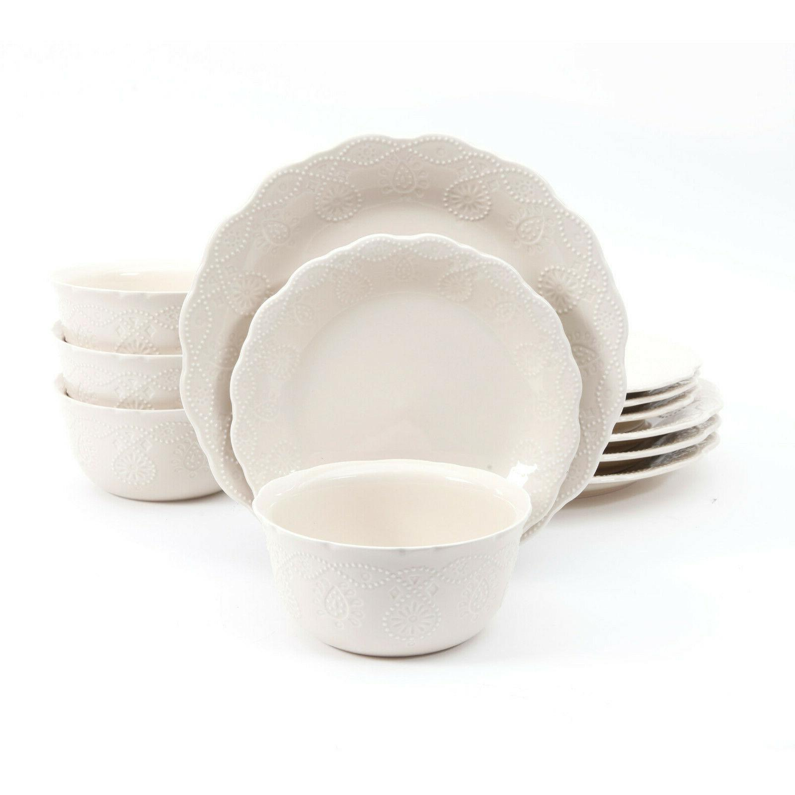 cowgirl lace 12 piece dinnerware set
