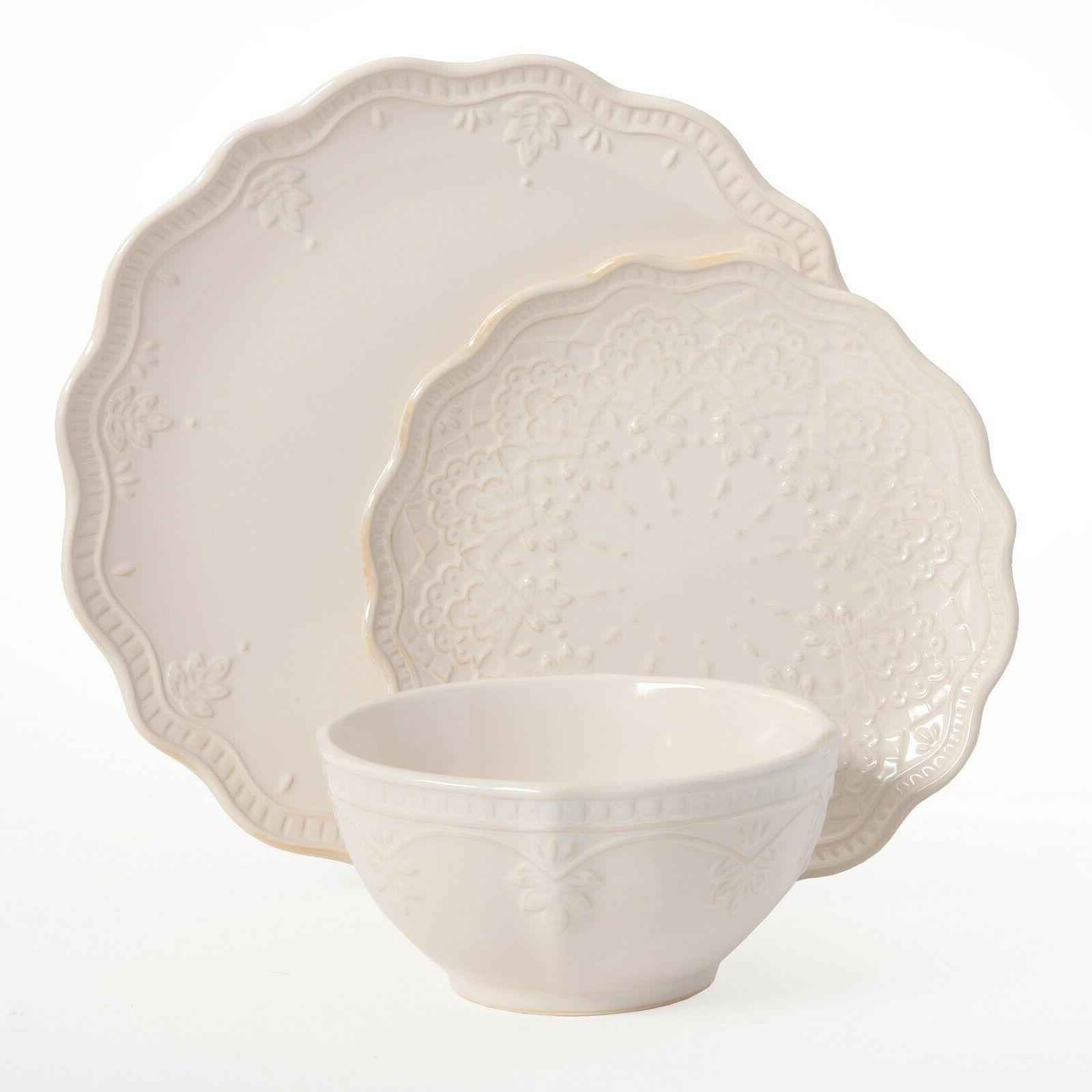 The Pioneer Woman Lace 12-Piece Dinnerware Linen