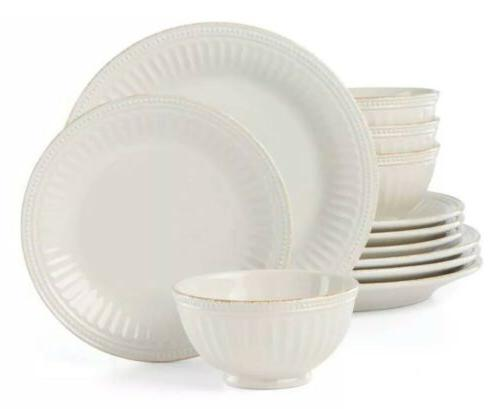 french perle groove white 12 piece dinnerware