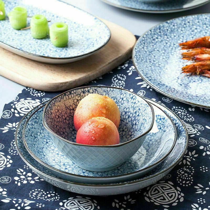 Japanese Crockery Plates Serving Blue