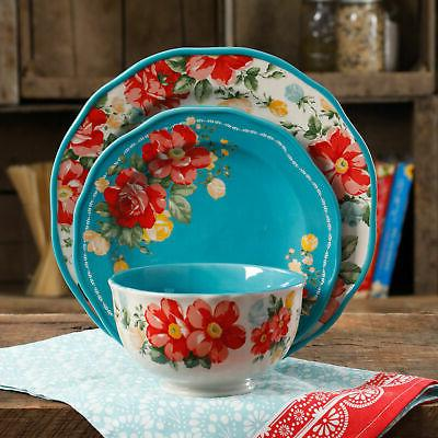 Dinnerware Vintage Floral 12 Piece Set Teal Service for 4 Pl