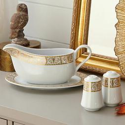 BrylaneHome Medici 4-Pc. Porcelain Serving Set , Gold White