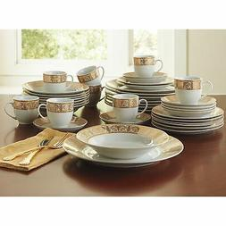BrylaneHome Medici 40-Pc. Golden Ceramic Dinnerware Set , Go