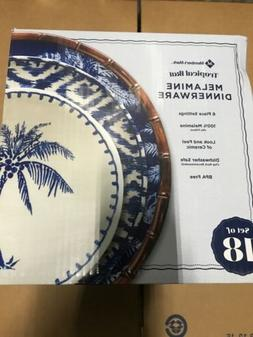 New ! Member's Mark 18-Piece Melamine Dinnerware Set Blue Tr