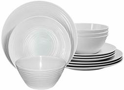 Parhoma White Melamine Plastic Home Dinnerware Set, 12-Piece