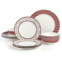 Lenox ~ PARTY LINKS RED 12 Piece DINNERWARE Set ~ NEW in BOX