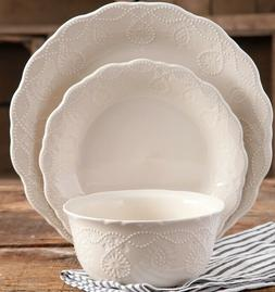 Pioneer Woman Lace Linen 12-Piece Dinnerware Set Service for