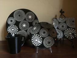 Round Dots by TABLETOPS Gallery 16 Pc Place Setting Hand Pai