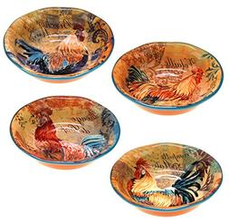 Certified International Rustic Rooster Soup/Cereal Bowls, 8.
